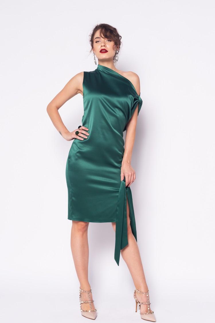 Rochie asimetrica verde smarald