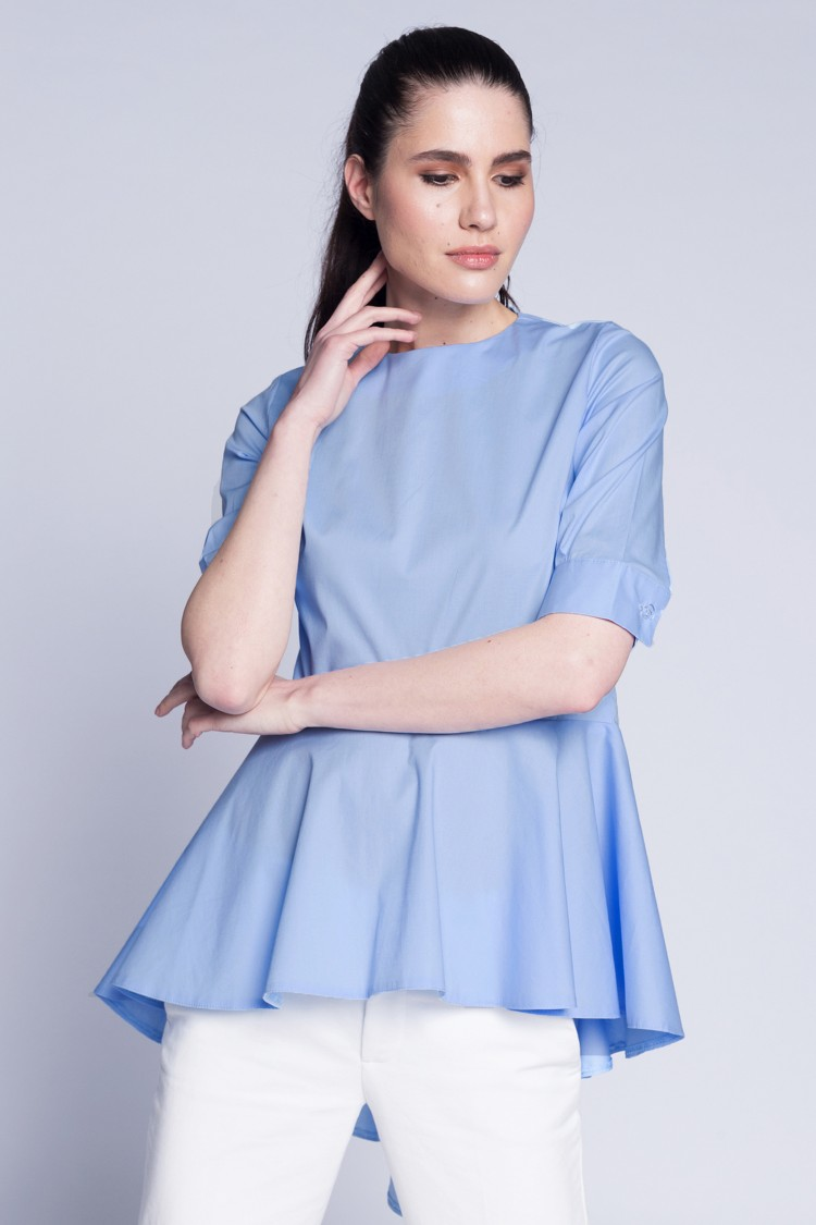 Bluza cu falduri bleu