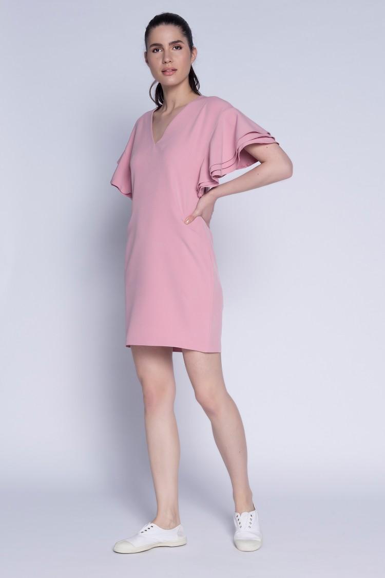 Rochie cu volane roz pudra