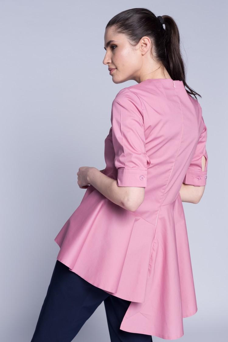 Bluza cu falduri roz pudra