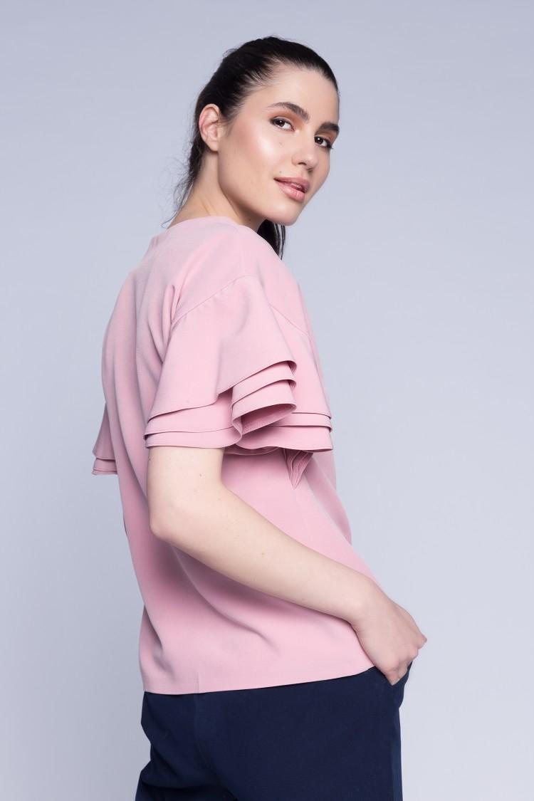Bluza cu volane roz pudra